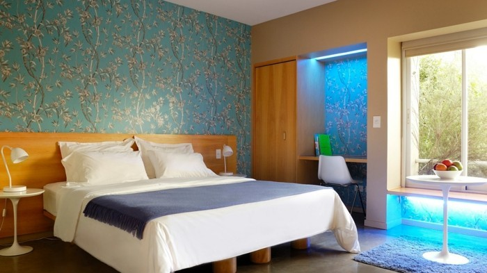 wohnideen schlafzimmer schöne florale muster werten den raum auf