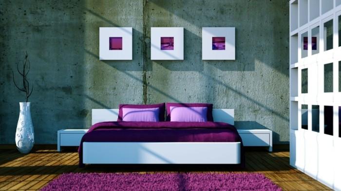 wohnideen schlafzimmer schöne wanddeko und betonoptik