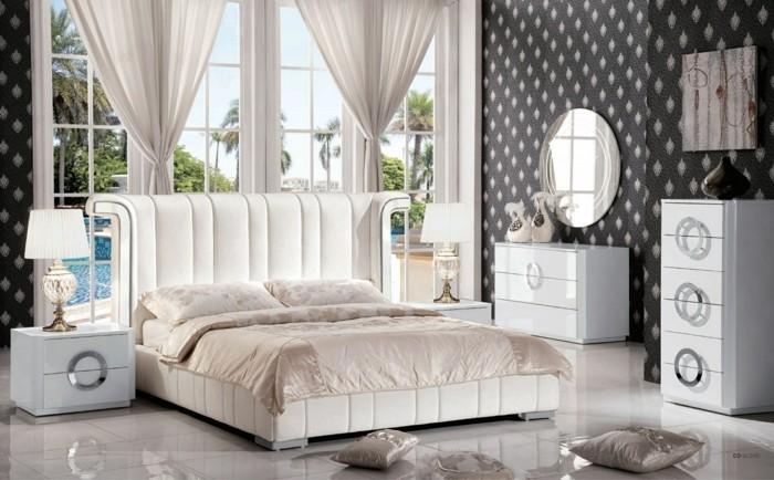 wohnideen schlafzimmer schöne wandtapete lässt den raum ganz schick erscheinen