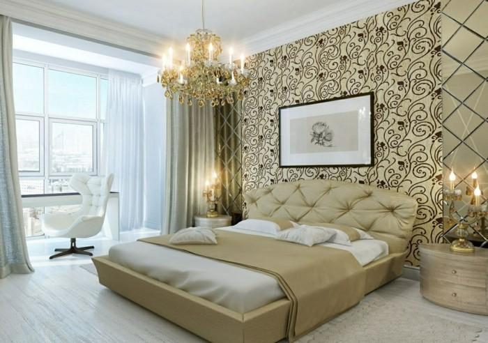 wohnideen schlafzimmer schöne wandtapete leuchter heller bodenbelag