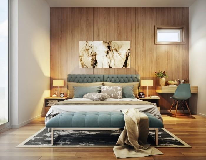 wohnideen schlafzimmer tolle akzentwand mit holzoptik