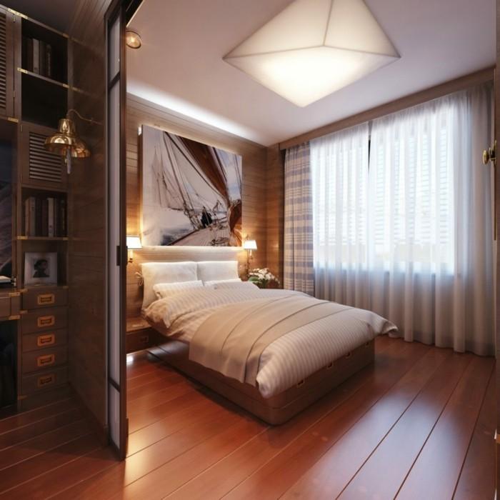 wohnideen schlafzimmer wanddeko hölzerne wandpaneele holzboden elegantes innendeisgn