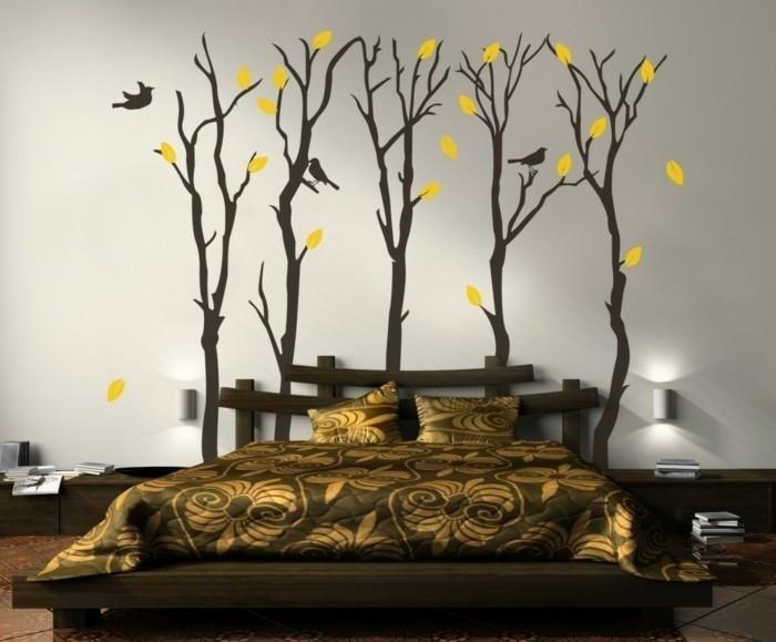 wohnideen schlafzimmer wanddeko luxuriöse bettwäsche