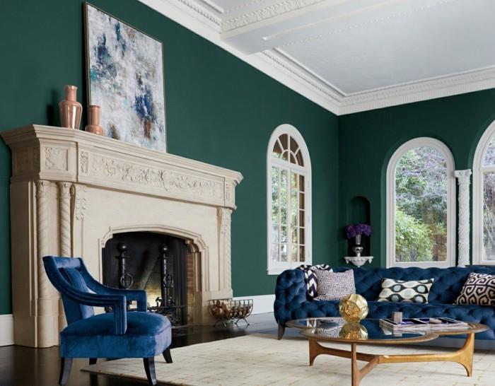 wohntrends 2017 wandfarbe farbtendenzen dunkelgrün wohnzimmer farbgestaltung