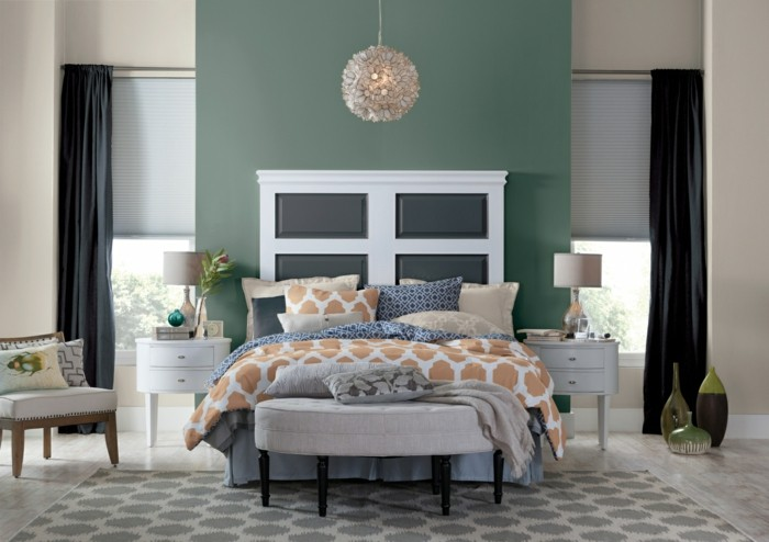 wohntrends 2017 wandfarbe pastellgrün wanddekoration wandgestaltung schlafzimmer