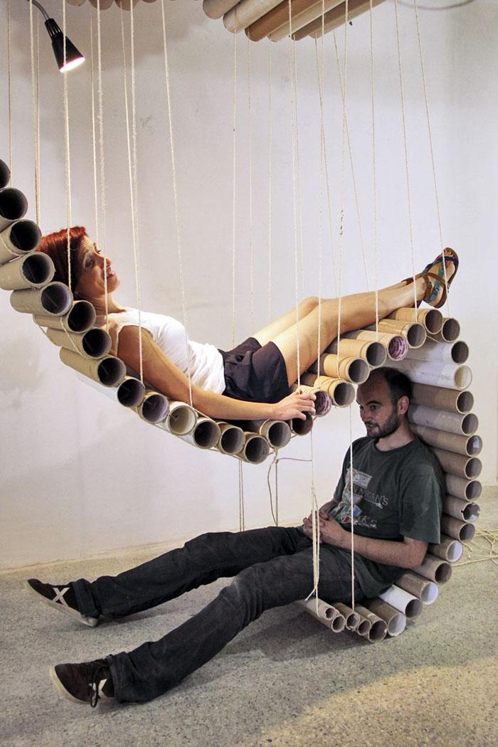Raumgestaltung Ideen Basteln mit Papprollen DIY Ideen Deko Ideen Innendesigner möbel aus pappe recycling ideen3