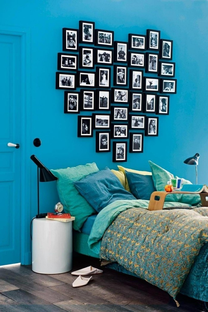 valentinstag ideen wanddeko fotos herz blaue wandfarbe