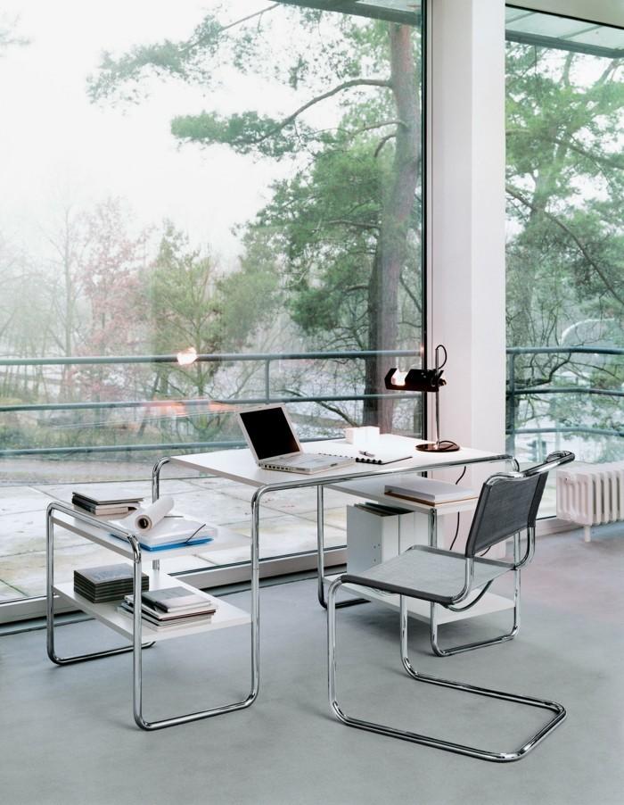 arbeitszimmer home office freischwinger stahlrohrmöbel schreibtisch laptop