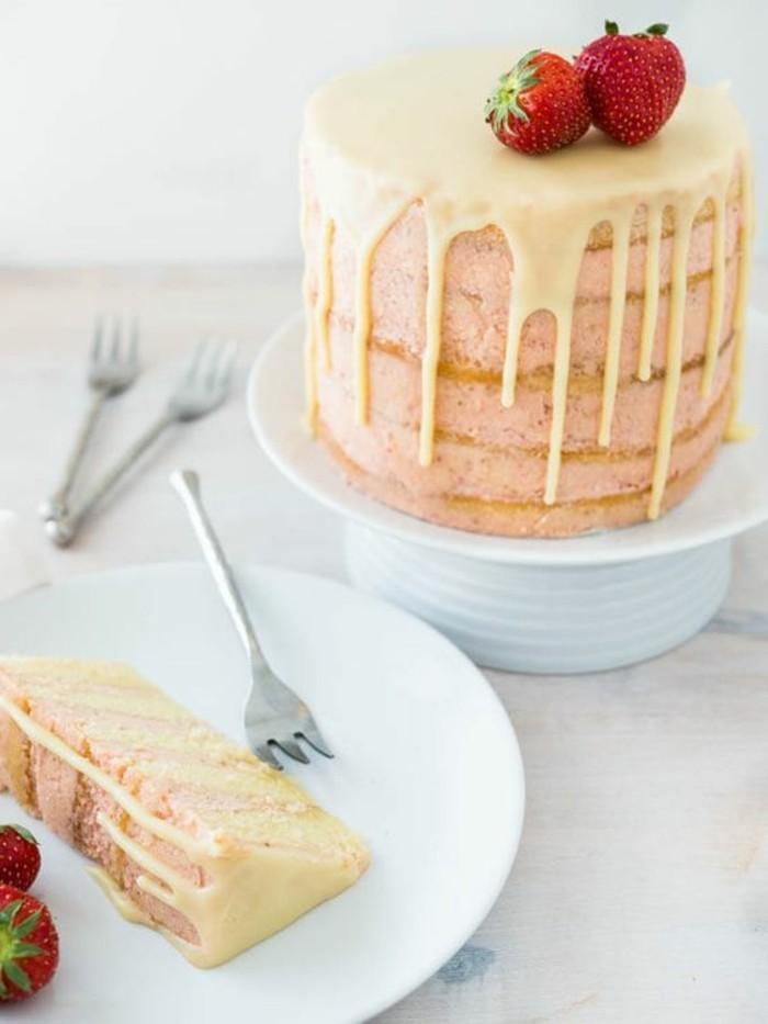 ausgefallene torten dekoideen torte vanille erdbeeren