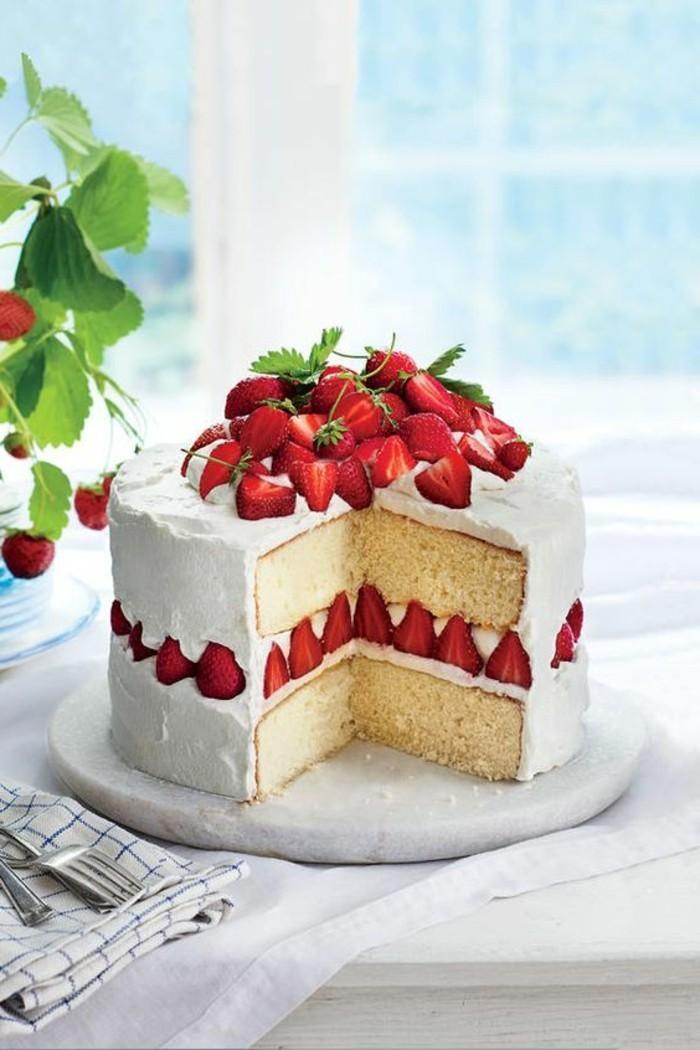 ausgefallene torten dekoration erdbeeren
