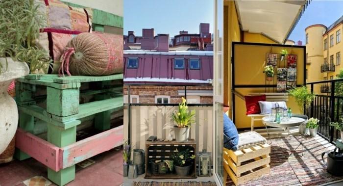 balkon-gestalten-balkonmöbel-diy-ideen-europaletten-sitzbank-beistelltisch-balkonpflanzen