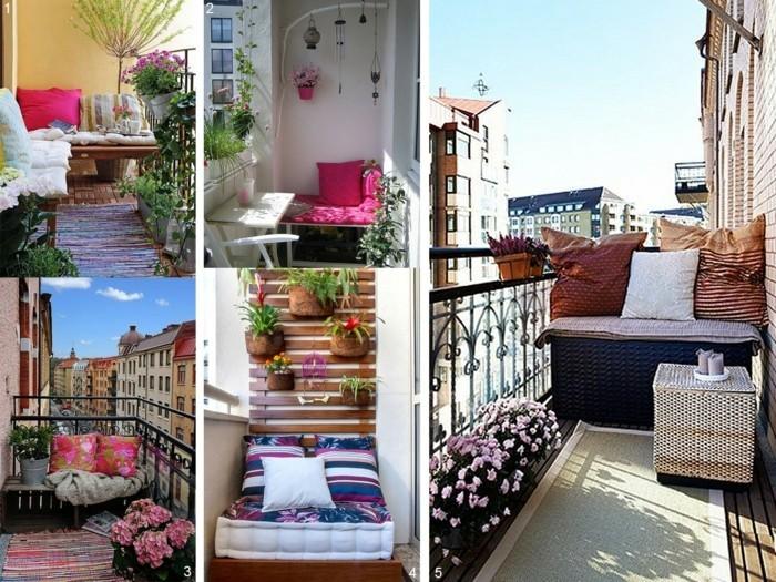 balkon gestalten balkonmöbel klappmöbel balkonpflanzen hortensien