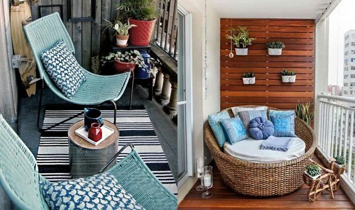 balkon gestalten balkonmöbel rattanstühle liege kissen holzdielen