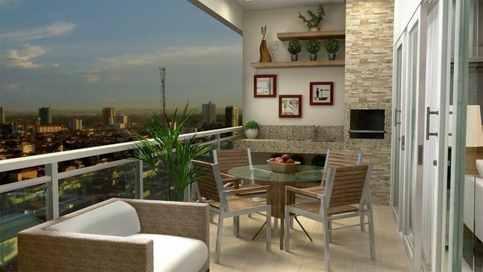 balkon gestalten balkonmöbel stühle teakholz aluminium rattanmöbel