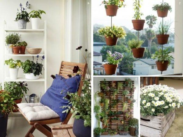 balkon ideen balkongestaltung platzsparende moebel haengende blumentoepfe