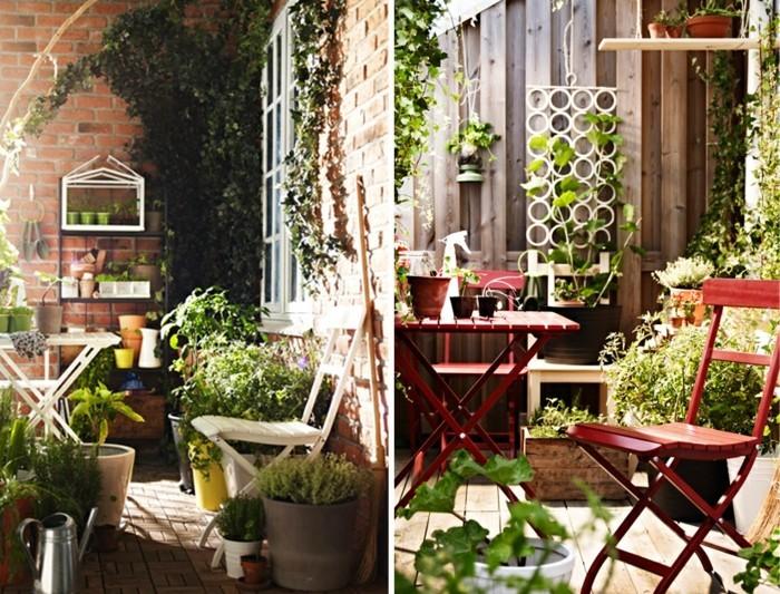 balkon gestalten klappstuhl klapptisch blumenständer balkonpflanzen