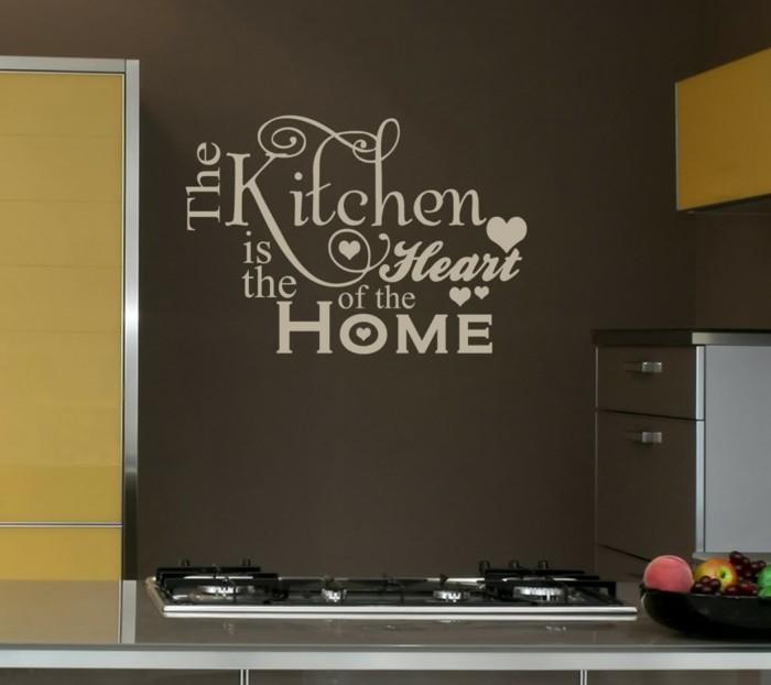 deko ideen küche wamdtattoo gelbe akzente