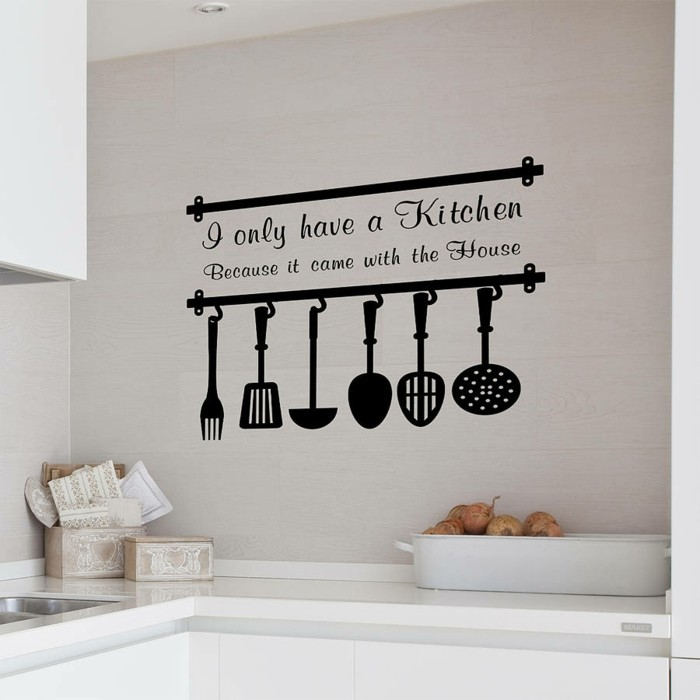 deko ideen küche wanddeko ausgefallenr wandsticker schwarz