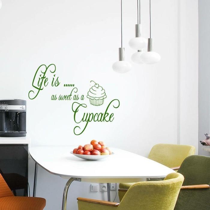 deko ideen küche wanddeko grüner wandsticker