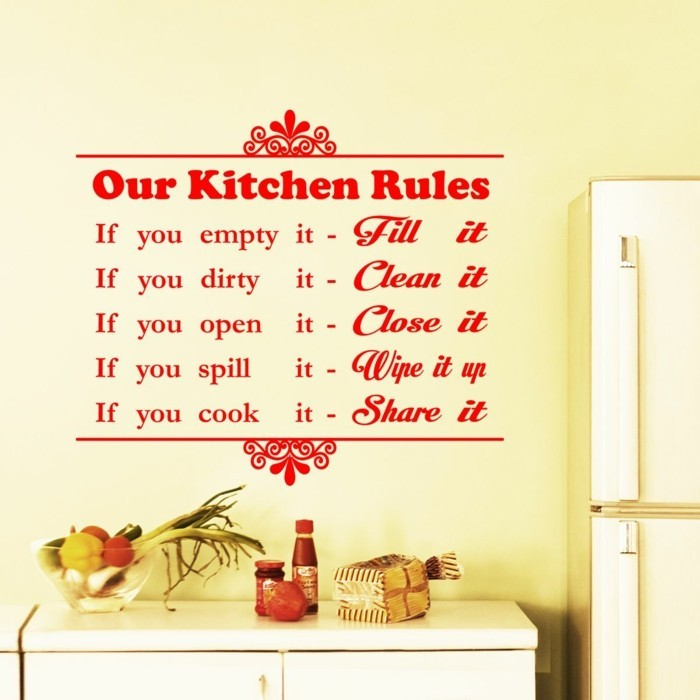 deko ideen küche wanddeko wandsticker regeln wohnideen küche