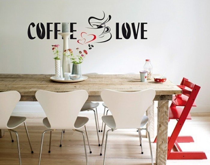 deko ideen küche wandsticker kaffeesprüche wanddekoration