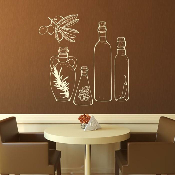 deko ideen küche wandtattoos braune wandfarbe essbereich