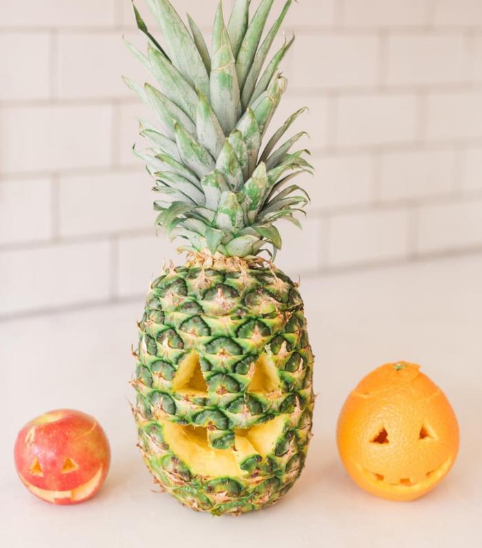 diy deko obst ananas apfel orange schnitzen