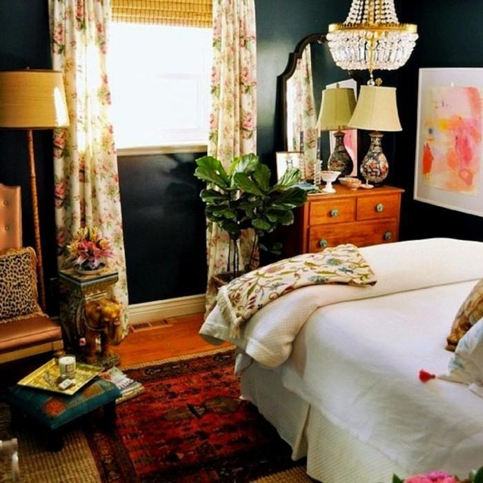 eklektisch einrichten wohnideen schlafzimmer schwarze wandgestaltung