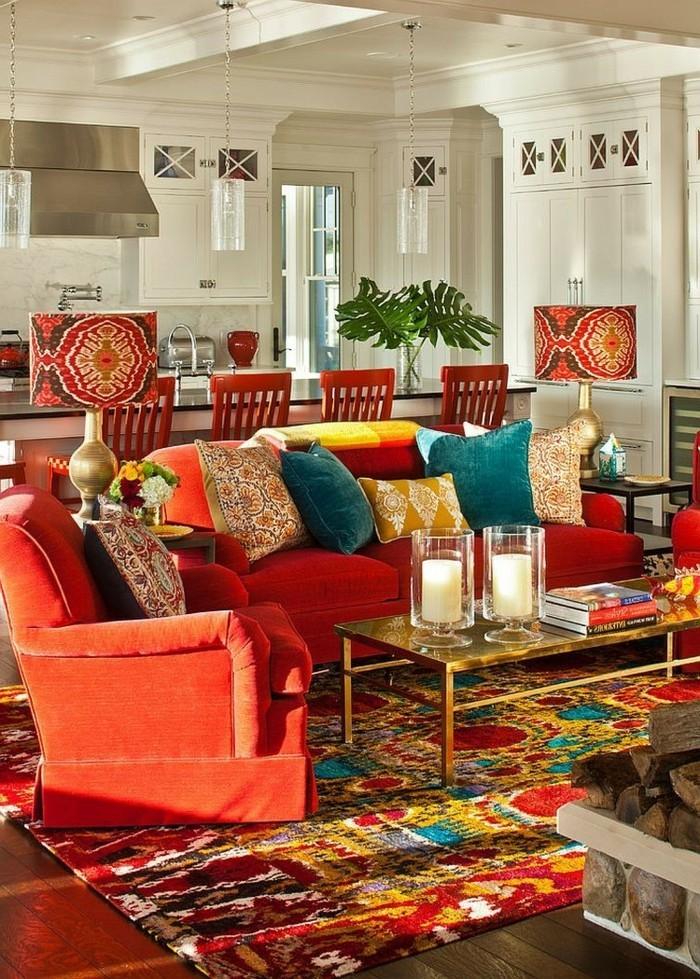 eklektisch einrichten wohnzimmer einrichten ideen warme farbtöne auswählen