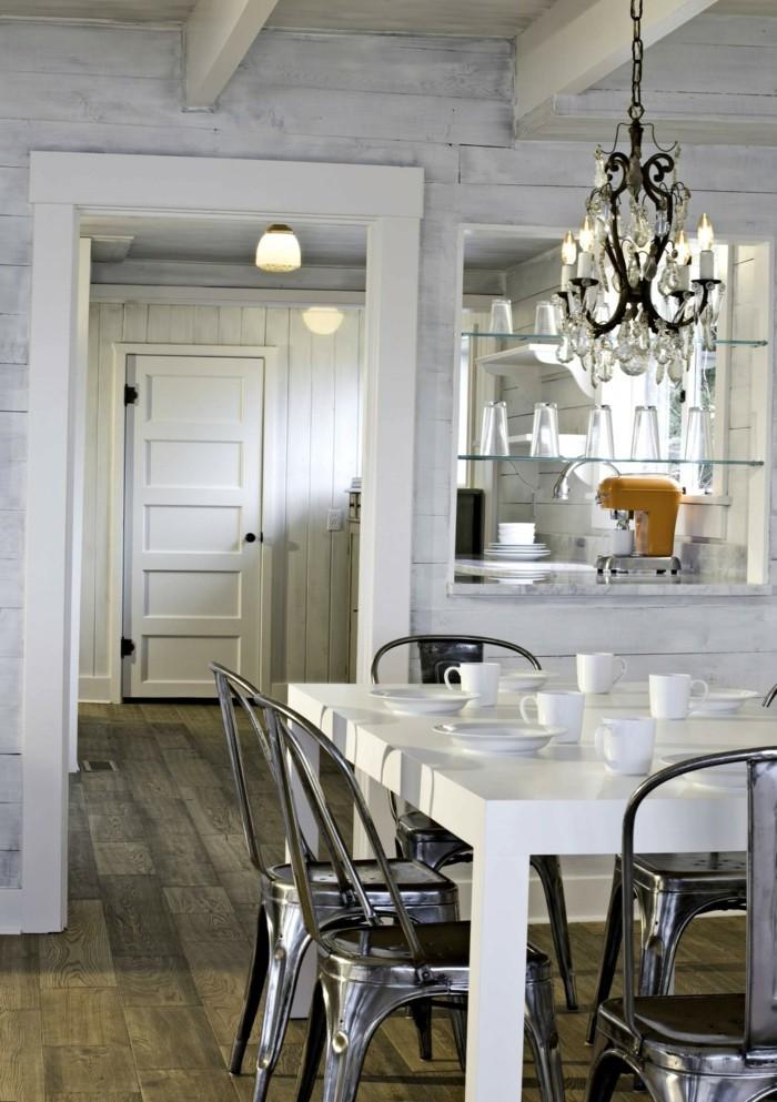 eklektisch wohnideen esszimmer weißer tisch schöner leuchter