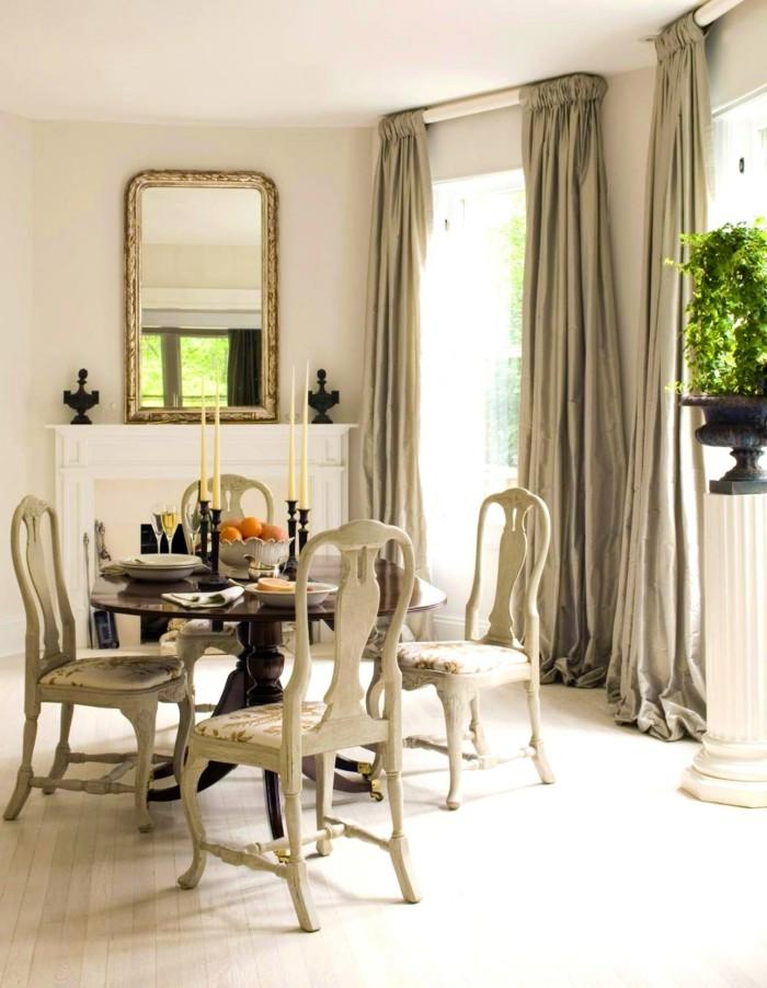 gardinenstangen design lange gardinen esszimmer spiegel
