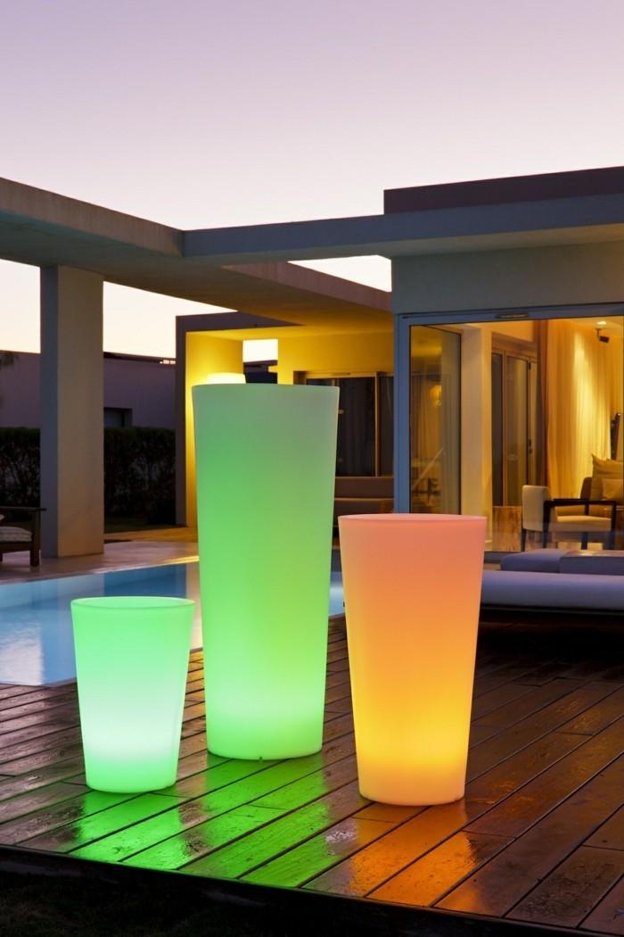 gartenbeleuchtung ideen solar lapmen pflanztöpfe