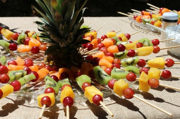 gesunde frühstücksideen tischdeko obst
