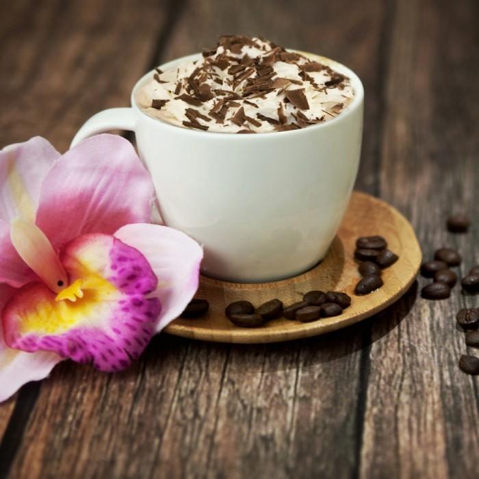 guten morgen kaffee coffee kaffeebohnen milchschaum orchidee