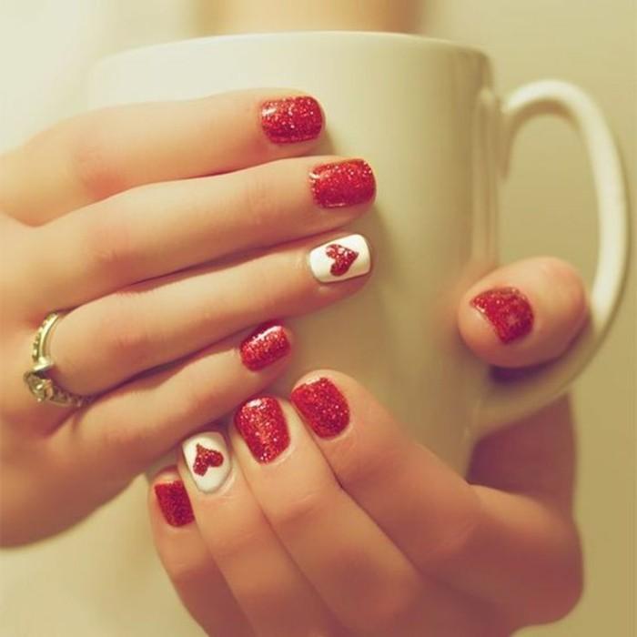 happy valentinstag ideen maniküre rot weiß