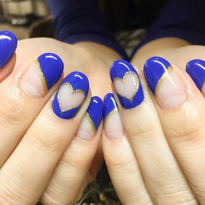 happy valentinstag nägel designen blau herzen