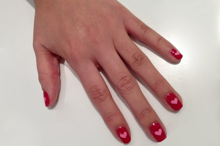 happy valentinstag nageldesign rot rosa