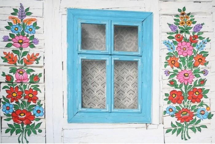 hausfassade gestalten zalipie blumen deko