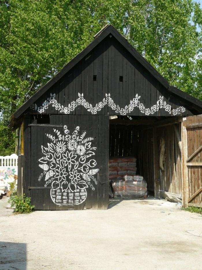 hausfassade gestalten zalipie dekoideen florale muster