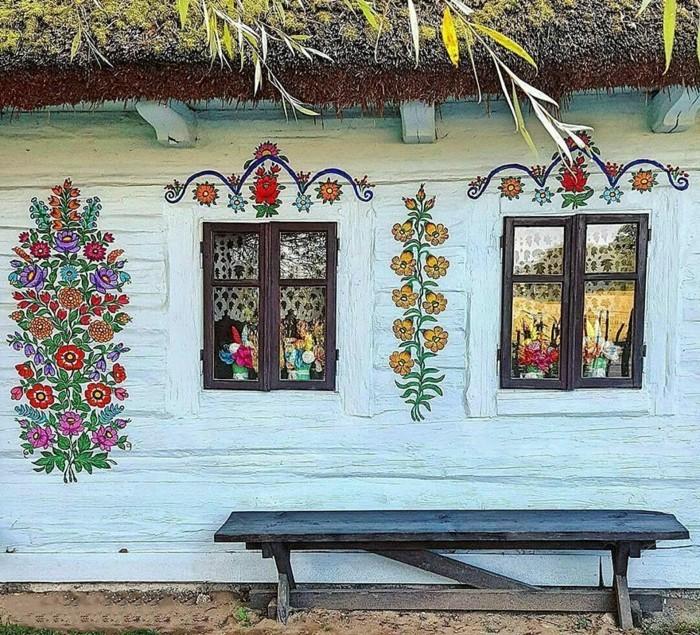 hausfassade gestalten zalipie florale dekoideen
