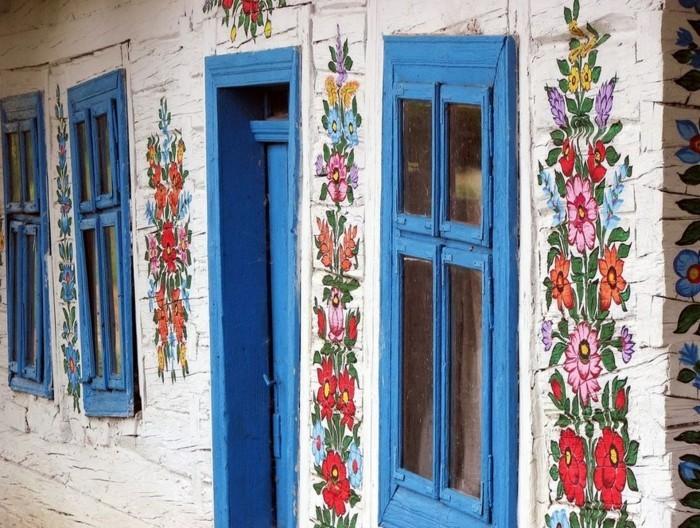 hausfassade gestalten zalipie frische farben rustikal