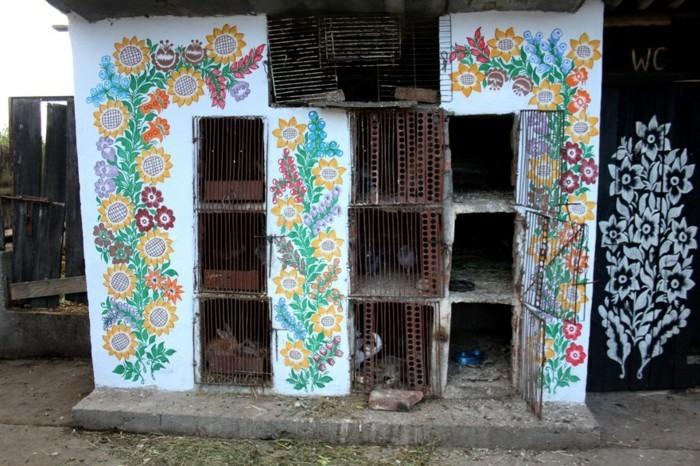 hausfassade gestalten zalipie gartenideen gebäude dekoideen