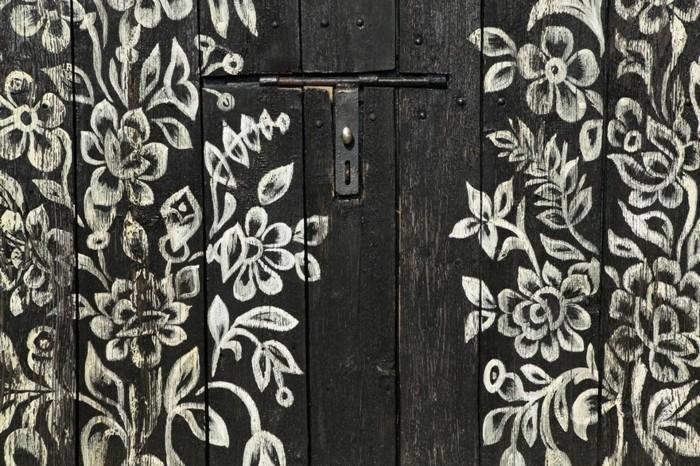 hausfassade gestalten zalipie weiße florale muster