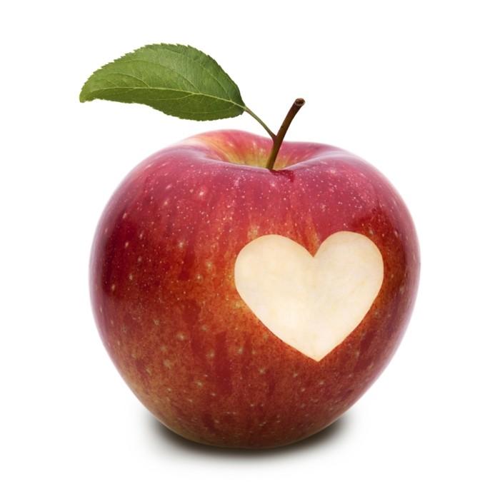 hautpflege tipps äpfel essen herz