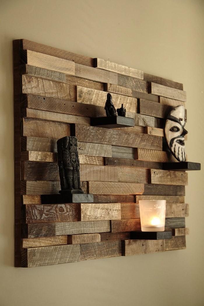 Holzkunst Kreative Wandgestaltung Wanddeko Ideen Holz Dekoregal