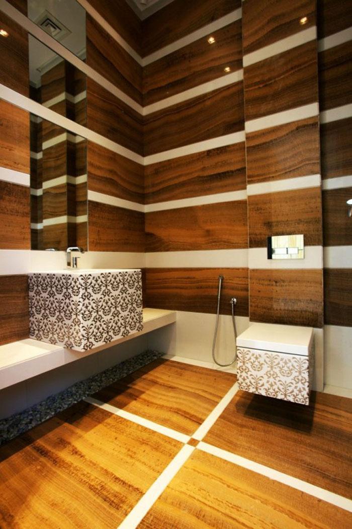 Holzkunst Kreative Wandgestaltung Wanddeko Ideen Holz Verkleidung Badezimmer