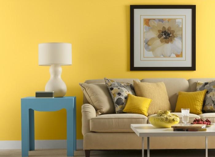 inneneinrichtung wohnzimmer trends gelb