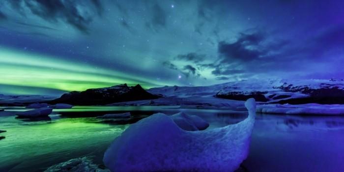 island landschaft nordlicht
