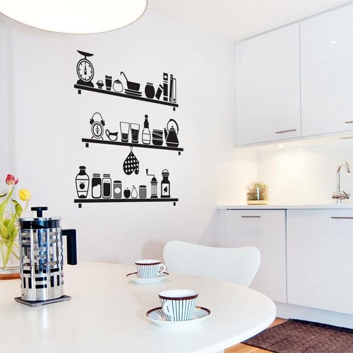 küchen wandtattoos dekoideen küche blumen weißer tisch