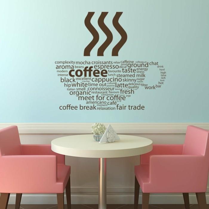 küchen wandtattoos hellblaue wandfarbe farbige stühle wohnideen küche